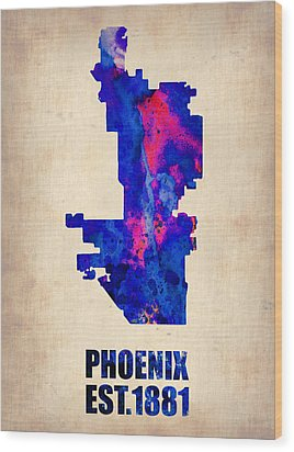 Phoenix Watercolor Map Wood Print by Naxart Studio