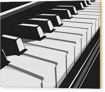 Piano Keyboard No2 Wood Print by Michael Tompsett