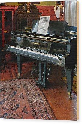 Piano With Sheet Music Wood Print by Susan Savad