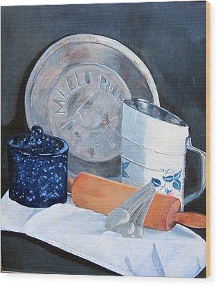 Pie Baking Wood Print by Paula Pagliughi