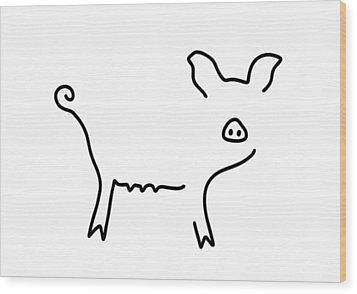Pig Piglet Make A Mess Wood Print by Lineamentum