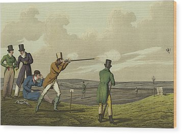Pigeon Shooting Wood Print by Henry Thomas Alken