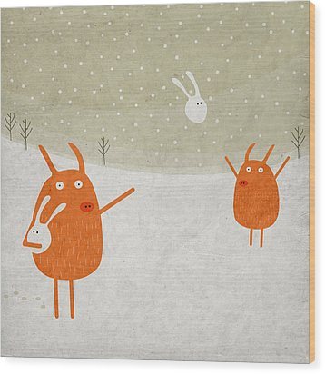 Pigs And Bunnies Wood Print by Fuzzorama