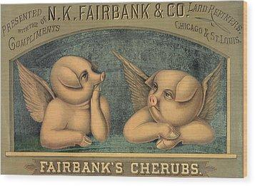 Pigs With Wings Wood Print by American School