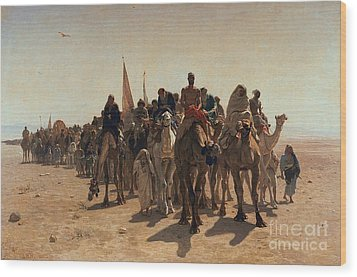 Pilgrims Going To Mecca Wood Print by Leon Auguste Adolphe Belly