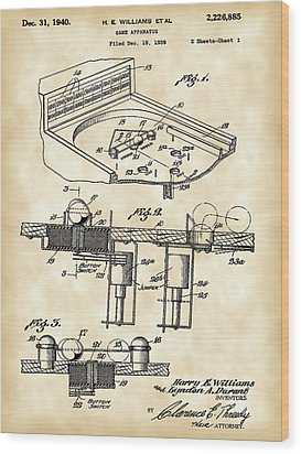 Pinball Machine Patent 1939 - Vintage Wood Print by Stephen Younts