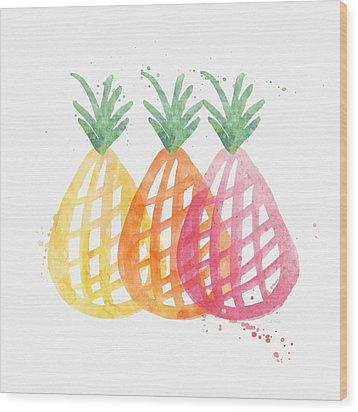 Pineapple Trio Wood Print by Linda Woods
