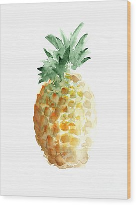 Pineapple Watercolor Minimalist Painting Wood Print by Joanna Szmerdt
