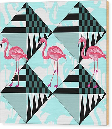 Ping Flamingo Wood Print by Mark Ashkenazi
