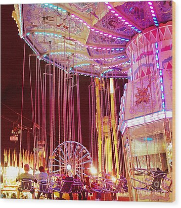 Pink Carnival Festival Ferris Wheel Night Ride Wood Print by Kathy Fornal