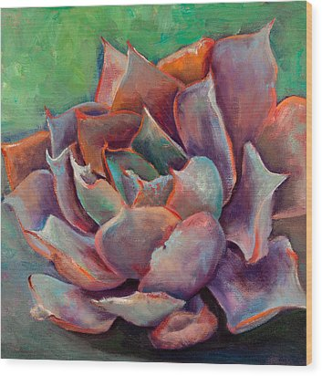 Pink Echeveria Wood Print by Athena  Mantle