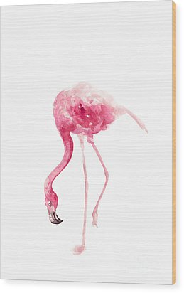 Pink Flamingo Watercolor Art Print Painting Wood Print by Joanna Szmerdt