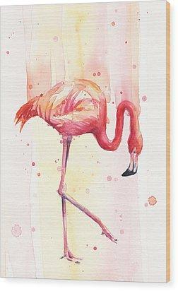 Pink Flamingo Watercolor Rain Wood Print by Olga Shvartsur