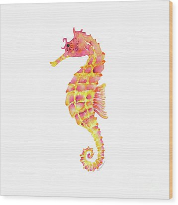 Pink Yellow Seahorse - Square Wood Print by Amy Kirkpatrick