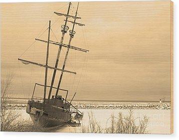Pirates In The Harbour Wood Print by DebraLee Wiseberg