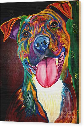 Pit Bull - Olive Wood Print by Alicia VanNoy Call