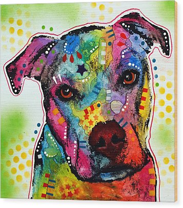 Pity Pitbull Wood Print by Dean Russo
