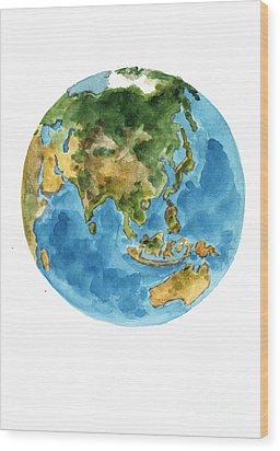Planet Earth Watercolor Art Print Painting Wood Print by Joanna Szmerdt
