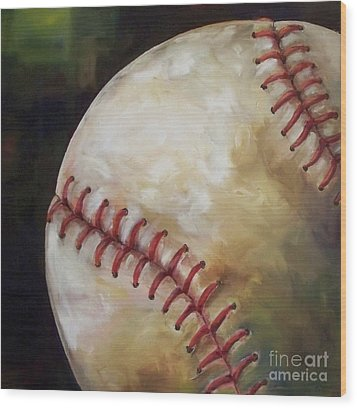 Play Ball Wood Print by Kristine Kainer