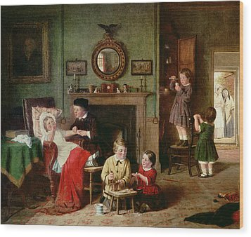 Playing At Doctors Wood Print by Frederick Daniel Hardy