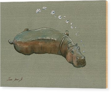 Playing Hippo Wood Print by Juan  Bosco