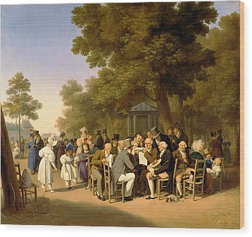 Politicians In The Tuileries Gardens Wood Print by Louis Leopold Boilly