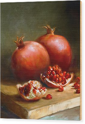 Pomegranates Wood Print by Robert Papp