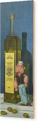 Popeye And Olive Oil Wood Print by Judy Sherman