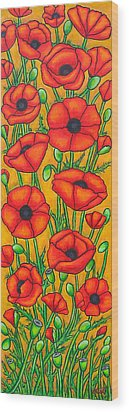 Poppies Under The Tuscan Sun Wood Print by Lisa  Lorenz