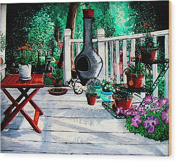 Porch Cat Sleeps Wood Print by Laura Brightwood