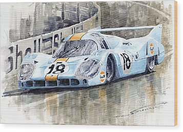 Porsche 917 Lh 24 Le Mans 1971 Rodriguez Oliver Wood Print by Yuriy  Shevchuk