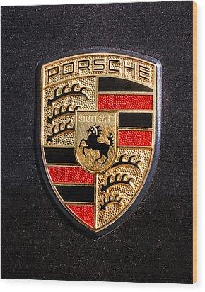 Porsche Emblem -211c Wood Print by Jill Reger
