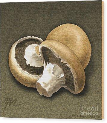 Portabello Mushrooms Wood Print by Marshall Robinson