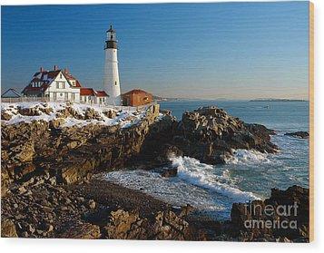 Portland Head Light - Lighthouse Seascape Landscape Rocky Coast Maine Wood Print by Jon Holiday