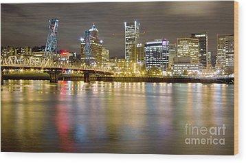Portland Oregon Skyline Reflections Wood Print by Dustin K Ryan