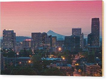 Portland Sunrise Wood Print by Brian Bonham