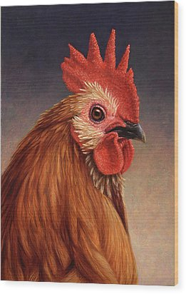 Portrait Of A Rooster Wood Print by James W Johnson