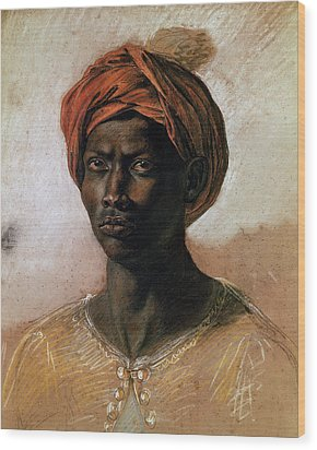 Portrait Of A Turk In A Turban Wood Print by Ferdinand Victor Eugene Delacroix