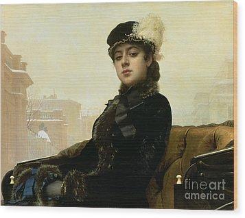 Portrait Of An Unknown Woman Wood Print by Ivan Nikolaevich Kramskoy