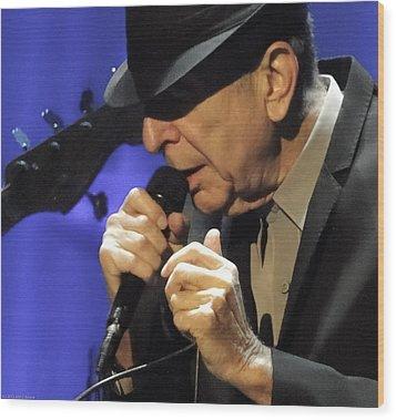 Portrait Of Leonard Cohen In Concert Wood Print by John C Bourne