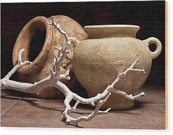 Pottery With Branch II Wood Print by Tom Mc Nemar