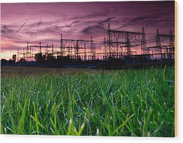 Power Lines Sunset Wood Print by Cale Best
