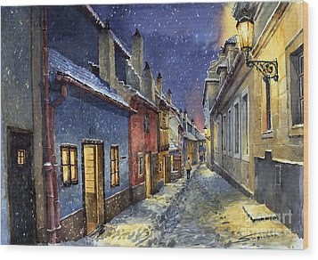 Prague Golden Line Winter Wood Print by Yuriy  Shevchuk