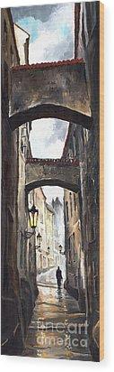 Prague Old Street 02 Wood Print by Yuriy  Shevchuk