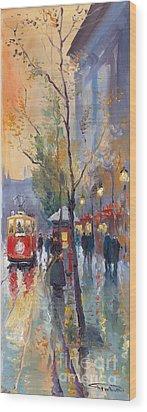 Prague Old Tram Vaclavske Square Wood Print by Yuriy  Shevchuk