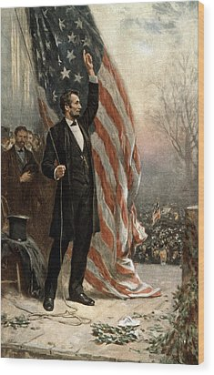 President Abraham Lincoln - American Flag Wood Print by International  Images
