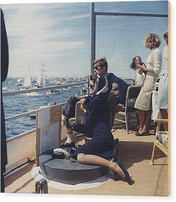 President And Jacqueline Kennedy Watch Wood Print by Everett