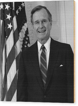 President George Bush Sr Wood Print by War Is Hell Store