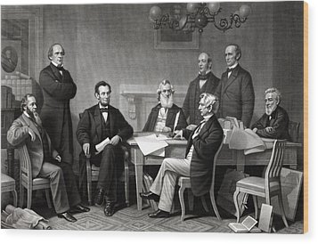 President Lincoln And His Cabinet Wood Print by War Is Hell Store