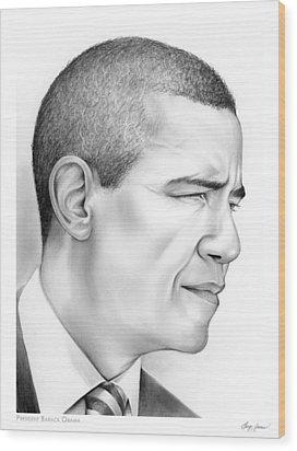 President Obama Wood Print by Greg Joens